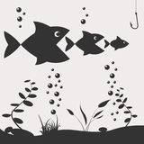 Fishing on the boat. Fishing design elements Royalty Free Stock Photography