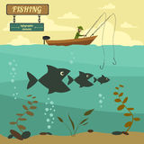 Fishing on the boat. Fishing design elements Stock Photo