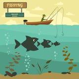 Fishing on the boat. Fishing design elements Stock Photo