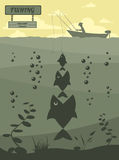 Fishing on the boat. Fishing design elements Royalty Free Stock Photo
