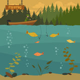 Fishing on the boat. Fishing design elements Royalty Free Stock Photos