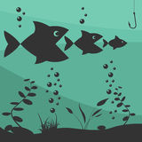 Fishing on the boat. Fishing design elements Stock Photography