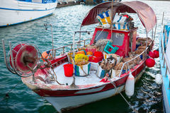 Fishing boat with fishing gear in Limassol Old Port. Stock Photos
