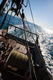 Fishing boat fishing by trawl in coastal waters. Sea of Japan Royalty Free Stock Photography