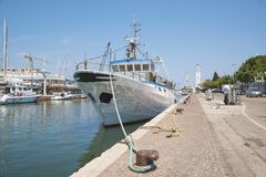 Fishing Boat, Fishing Vessel in the port of the sea resort of R. Imini, Italy stock images