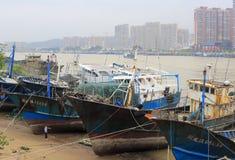 Fishing boat fixed in shipyard Royalty Free Stock Image