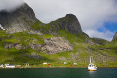 Fishing boat in fjord Royalty Free Stock Photography