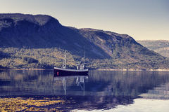 Fishing boat in a fjord in Norway. Royalty Free Stock Images