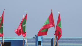 Fishing Boat And Flags. A Blue Fishing Boat Passing In The Distance Of A Small Harbor, Decorated With Maldivian Flags For A Special Occasion stock video