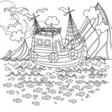 Fishing Boat Floating in the Sea Colorless royalty free illustration