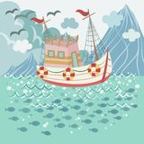 Fishing Boat Floating in the Sea stock illustration