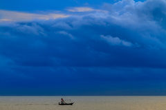 Fishing boat. Floating on the water, blue sea and sky Royalty Free Stock Photos