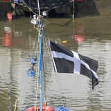 Fishing boat flying the Cornwall flag of Saint Piran Royalty Free Stock Photo
