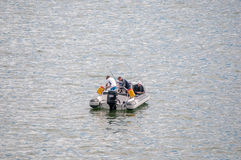 Fishing from a boat at Gordons Bay Royalty Free Stock Photos