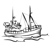 Fishing boat graphic. Fishing boat business silhouette graphic Stock Photography