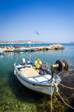 Fishing boat on the Greek coast Royalty Free Stock Images