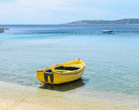 Yellow fishing boat. Fishing boat on the Greek island Royalty Free Stock Image