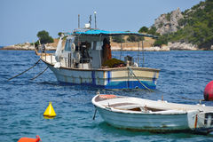 Fishing boat in greek island Stock Images
