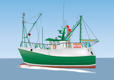 Fishing Boat. A Green and White Fishing Boat sailing on a calm sea Royalty Free Stock Photography