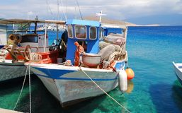 Fishing boat, Halki island Royalty Free Stock Images