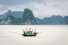 Fishing boat in Halong Bay, Vietnam Stock Images