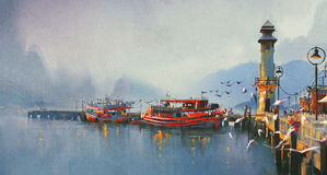 Fishing boat in harbor at morning. Watercolor painting style Royalty Free Stock Image