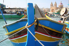 Fishing boat in harbour in Gozo, Malta. A fishing boat in harbour on the island of Gozo, Malta Royalty Free Stock Image