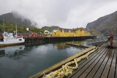 Fishing boat in harbour of Lofoten Islands Norway Stock Photos
