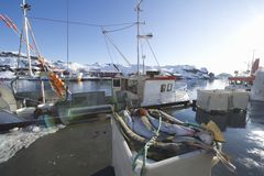 Fishing boat in harbour Norway Stock Image