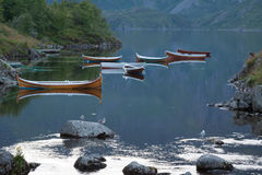 Fishing boat in harbour Reine, Lofoten Islands, Norway Royalty Free Stock Image