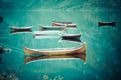 Fishing boat in harbour Reine, Lofoten Islands, Norway Royalty Free Stock Images