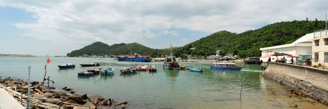 Fishing Boats In Tai O Fishing Village Hong Kong. Fishing boat in the harbour of Tai O Fishing Village in Hong Kong; last of it`s kind; end of an era Stock Image