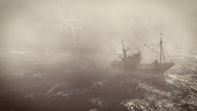 Fishing boat at heavy storm with lightnings. Heavy storm in the open sea with small fishing boat at foreground and with lightning flashes in the distance Royalty Free Stock Image
