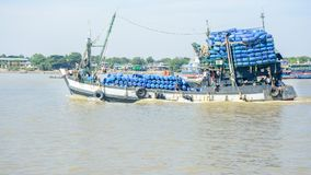 Fishing boat in Hlaing river, Myanmar. They go to off-shore and fishing royalty free stock photos