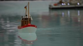 Fishing Boat - Hobby model - focus on detail stock video footage