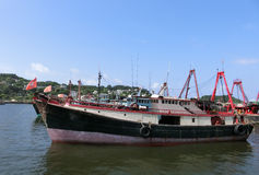 Fishing Boat. Hong Kong - July 2016 - Fishing boats mooring in the harbour at Cheung Chau Island Royalty Free Stock Photos