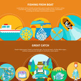 Fishing Boat Horizontal Banners. Fishing from boat banners set with water vessels and fish tackle flat images with editable text vector illustration Royalty Free Stock Images