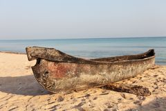 Fishing boat huri on beach Stock Images