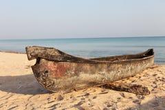 Fishing boat huri on beach. Traditional fishing boat huri on beach of Socotra Island Stock Images
