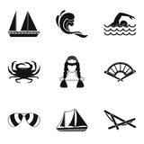 Fishing from a boat icons set, simple style. Fishing from a boat icons set. Simple set of 9 fishing from a boat vector icons for web isolated on white background Royalty Free Stock Photo