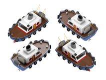 Fishing boat illustration isometric. Set four view. 3d illustration Royalty Free Stock Image
