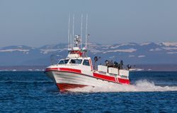 Fishing boat. Image of a high speed commercial fishing boat Stock Photos