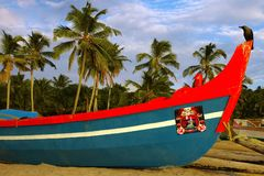 Fishing Boat In Muslim Village Stock Photo