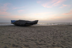 Fishing boat on the Indian ocean, Varkala. India stock image