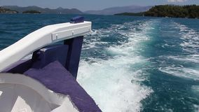 Fishing boat at the Ionian sea in Greece. Back of the boat stock footage
