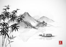 Fishing boat and island with mountains. Traditional oriental ink painting sumi-e, u-sin, go-hua. Contains hieroglyph - Stock Image