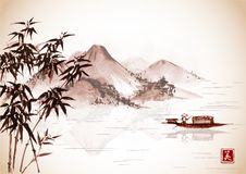 Fishing boat and island with mountains on vintage background. Traditional oriental ink painting sumi-e, u-sin, go-hua. Contains hieroglyphs - eternity, freedom Royalty Free Stock Photo
