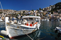 Fishing boat on the island of Symi Royalty Free Stock Photo
