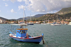 Fishing boat at Ithaki island in Greece Royalty Free Stock Photo