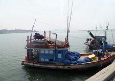 Fishing boat at jetty in Chonburi Stock Photo